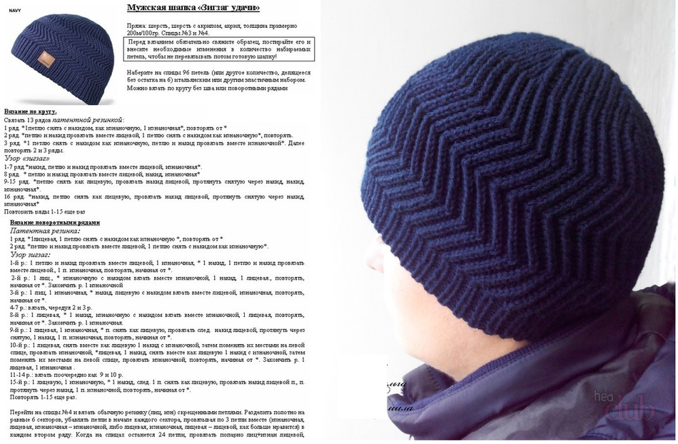 Вязание для мужчин спицами шапки 86