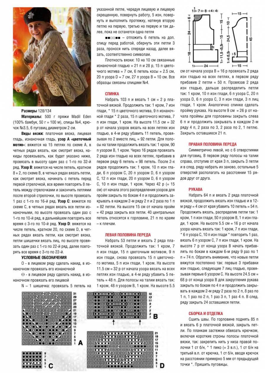 Схема вязания детского кардигана спицами с описанием 25
