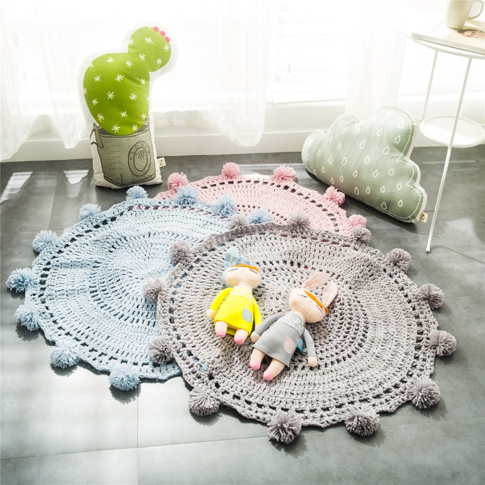 Alfombras Tejidas A Mano Tapete Redondo Con Agujas De Tejer  -> Tapetes Para Sala Tejidos A Crochet