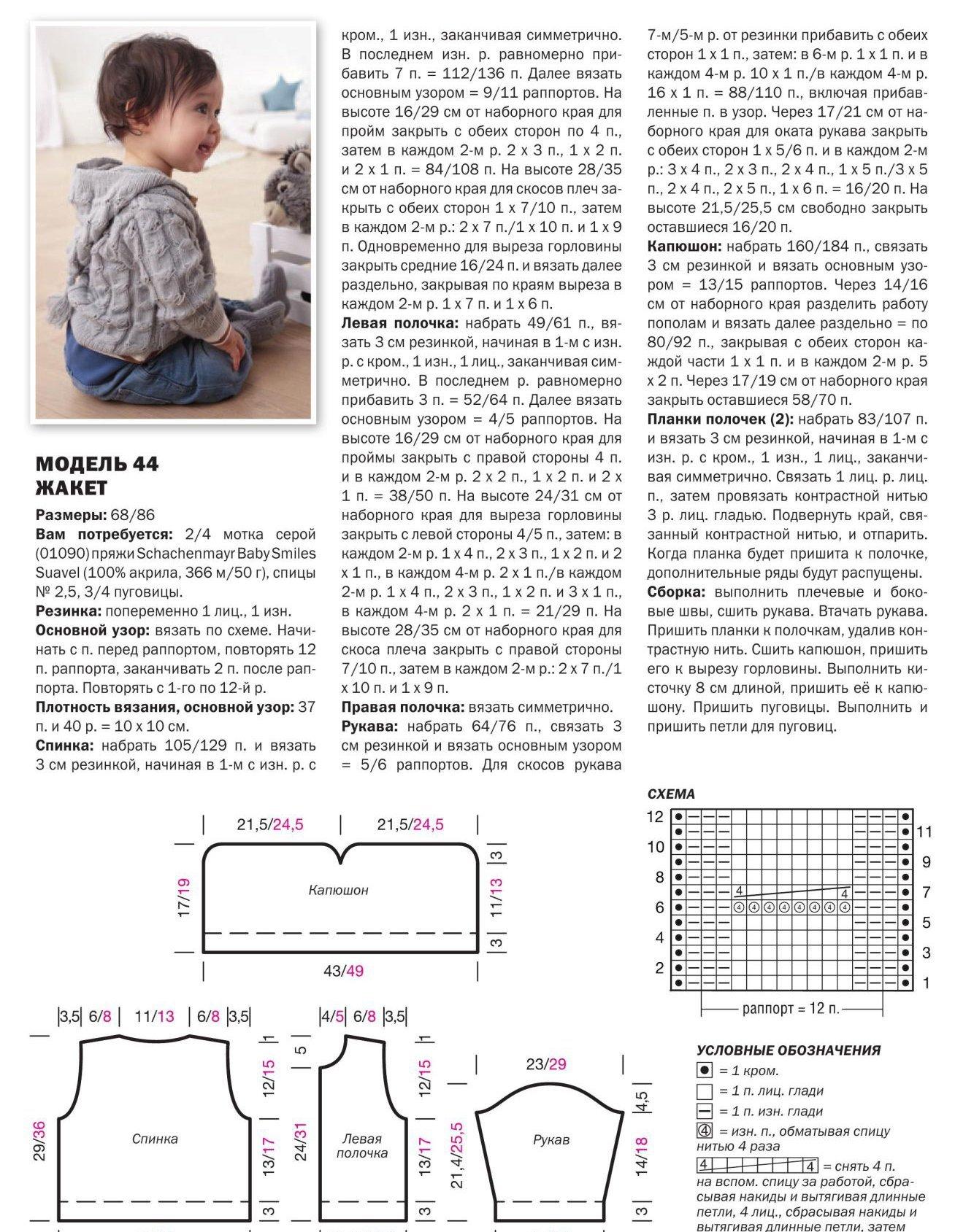 Схема вязания детского кардигана спицами с описанием 58
