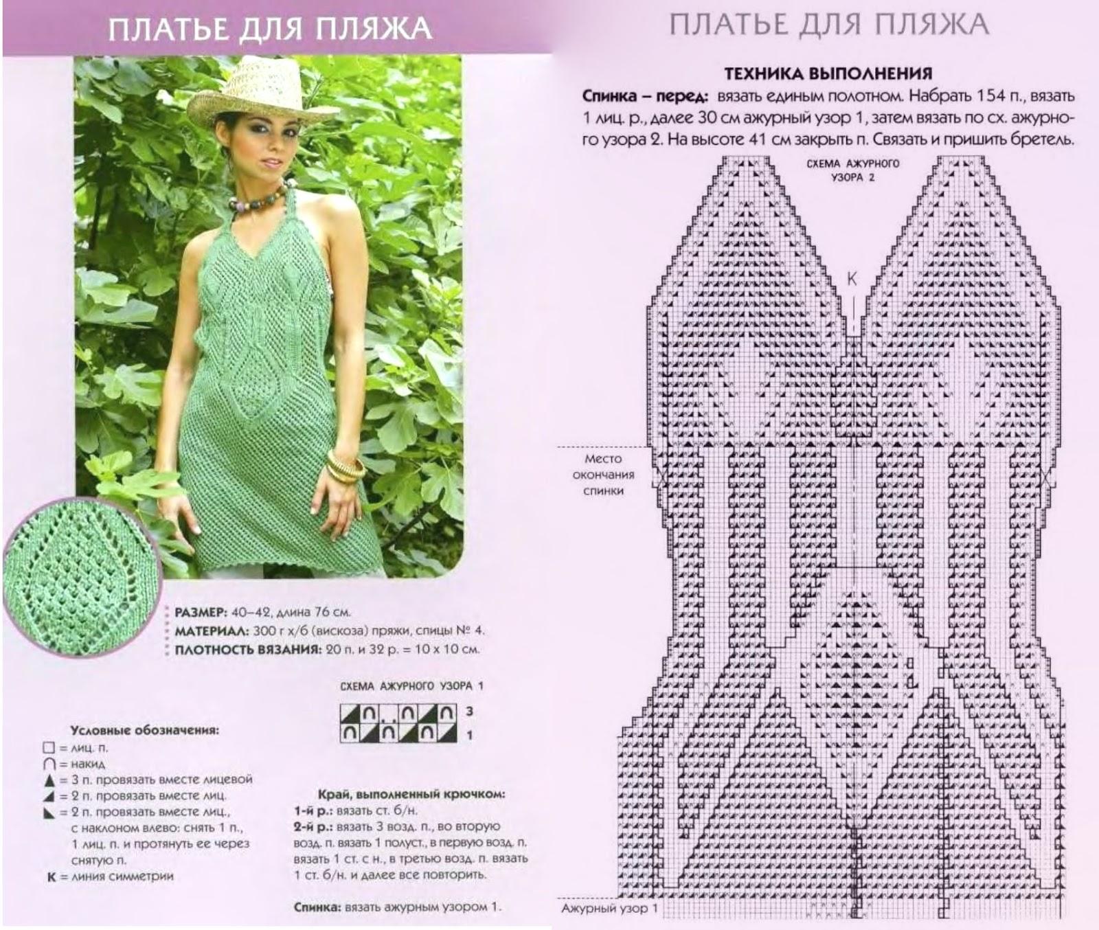 Вязаное платье на пляж крючком схемы