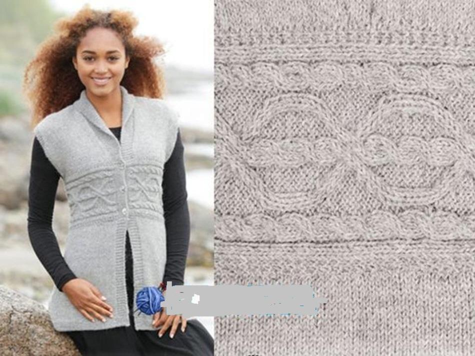 Un hermoso chaleco con agujas de tejer para mujer. Esquema, patrón ...