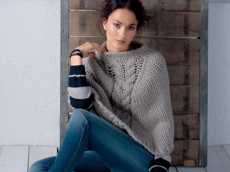Poncho de punto suéteres. Tejemos ponchos con agujas de tejer ...