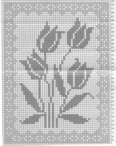 Тюльпаны филейное вязание 30