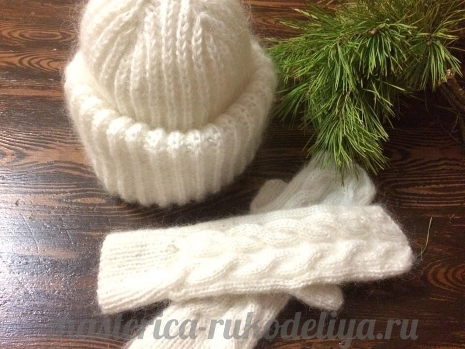 Вязание спицами шапка с отворотом английской резинкой спицами 54