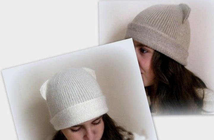 Sombrero de punto con orejas. Gorra con orejas de gato: una ...
