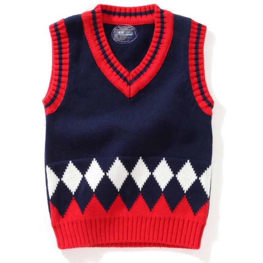 Sin manga para el chico. Chaleco bicolor. Crochet.